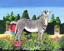 Surrealismo animal con plantas y zebra.