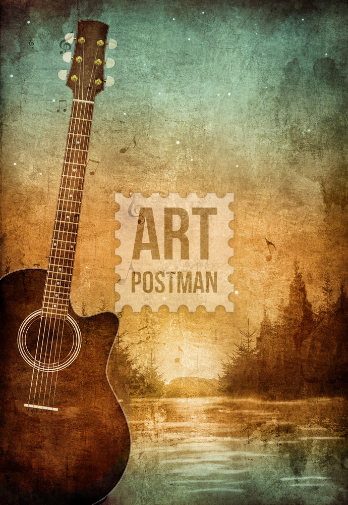 Cuadro de Guitarra, lienzo para músicos, obra digital.