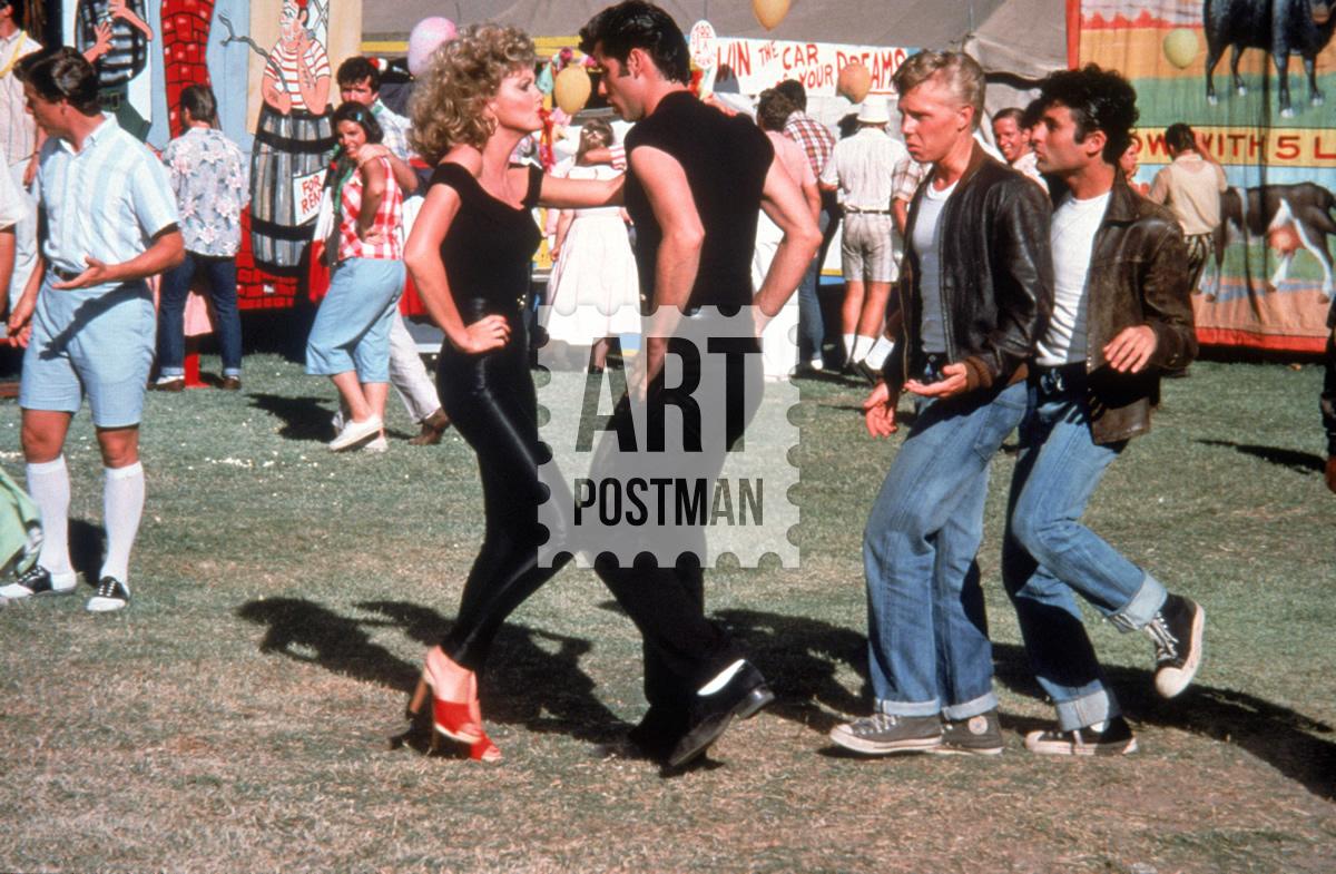 Cuadro de Grease, la película. Travolta y Olivia Newton John.