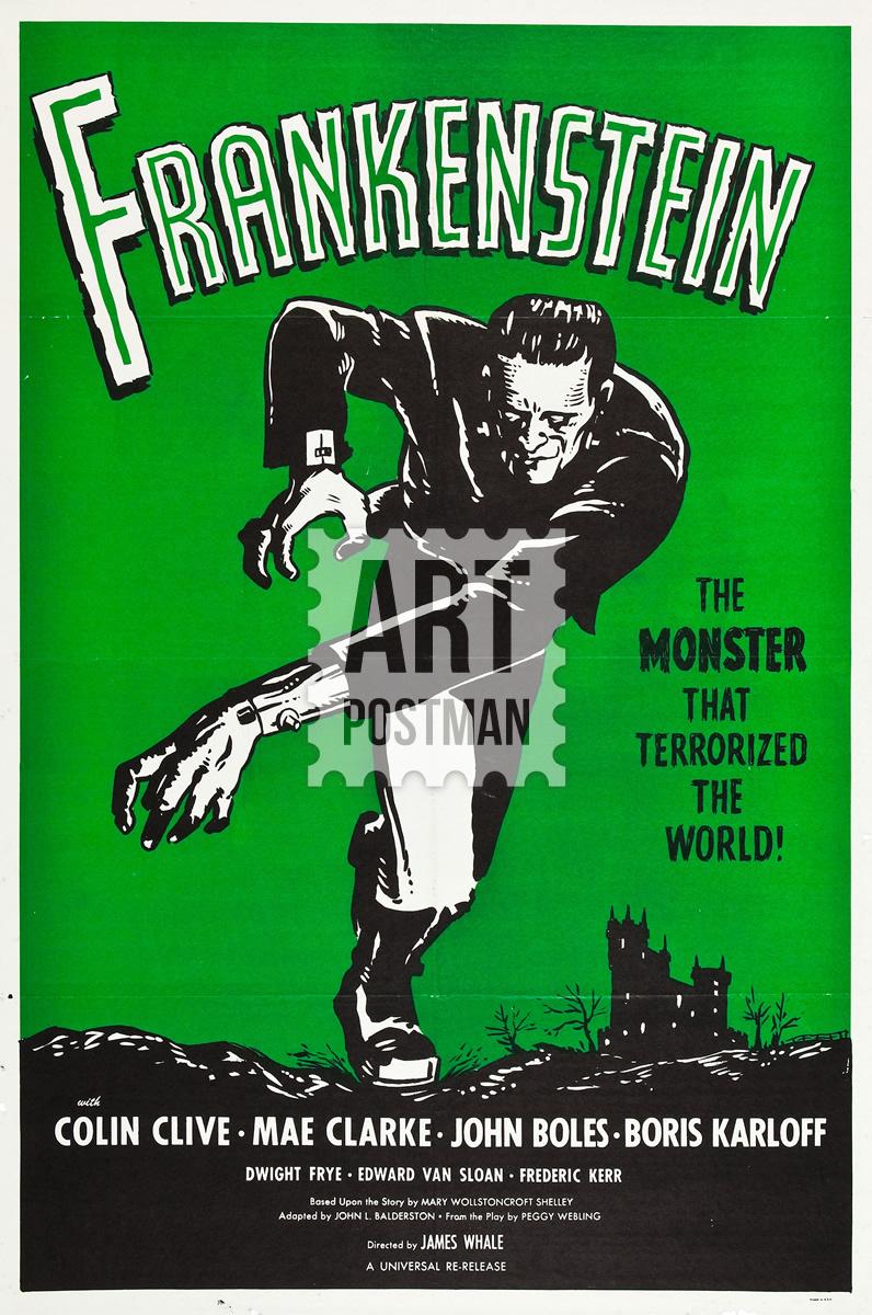 Cuadro de película vintage, Frankenstein de los años 30.