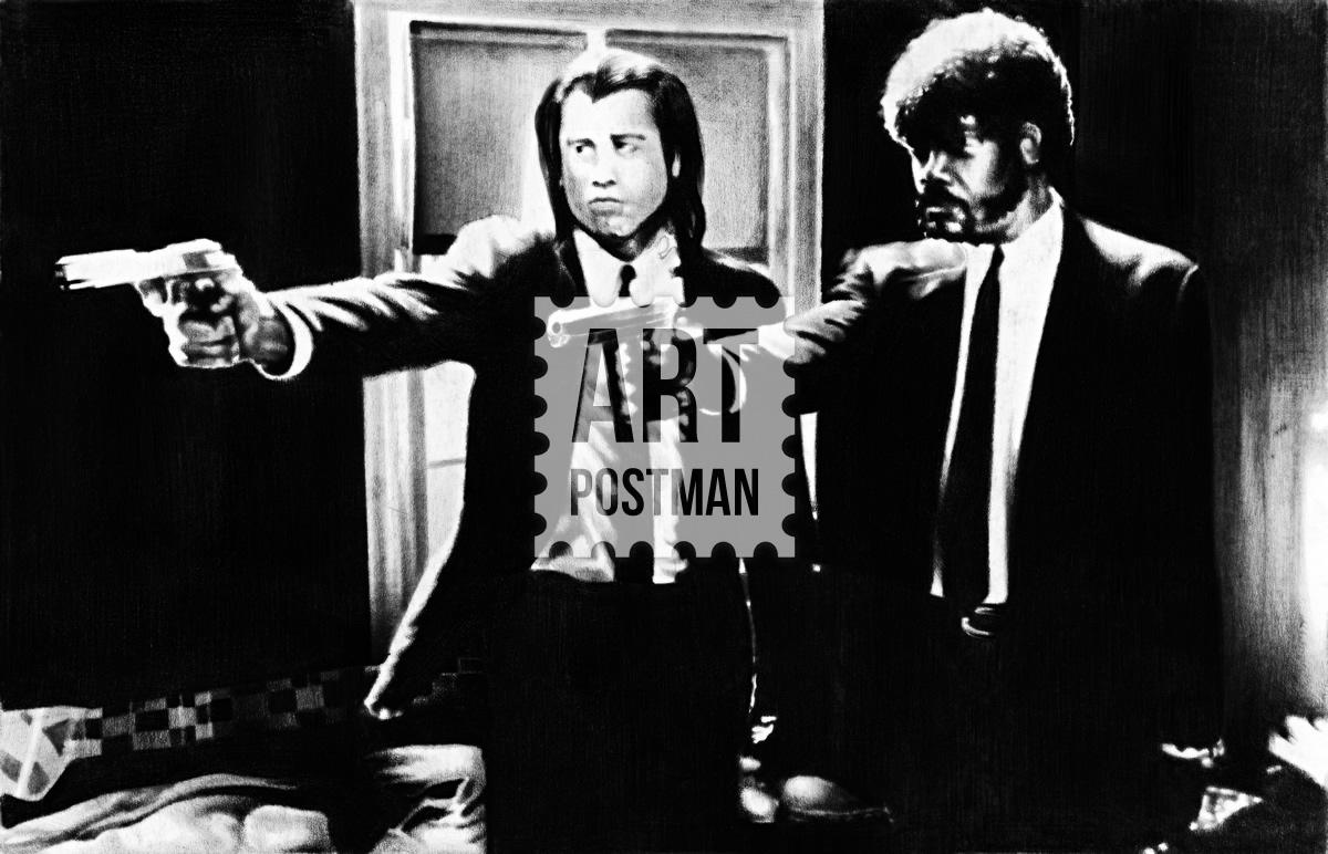 Cuadro de Pulp Fiction, la película. Samuel L. Jackson y Travolta.