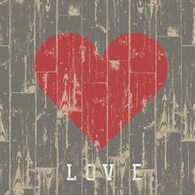 Cuadros Corazón de Madera Love
