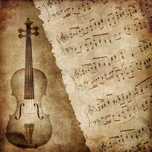 Libro musical y Violín en Sepia